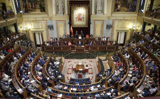 Vista general del Congreso de los diputados durante el debate de...