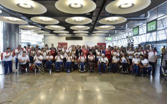 El equipo paralímpico español el pasado 31 de agosto en el...