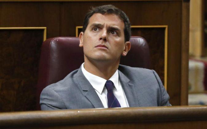 El presidente de Ciudadanos, Albert Rivera, durante la tercera sesión...