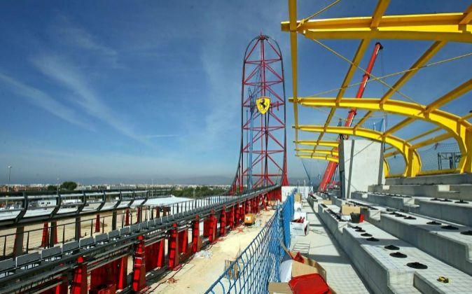 Obras del futuro parque Ferrari Land, que abrirá en 2017.