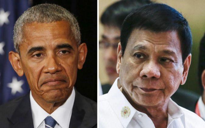 El presidente de EEUU, Barack Obama (i), durante la reunión de...