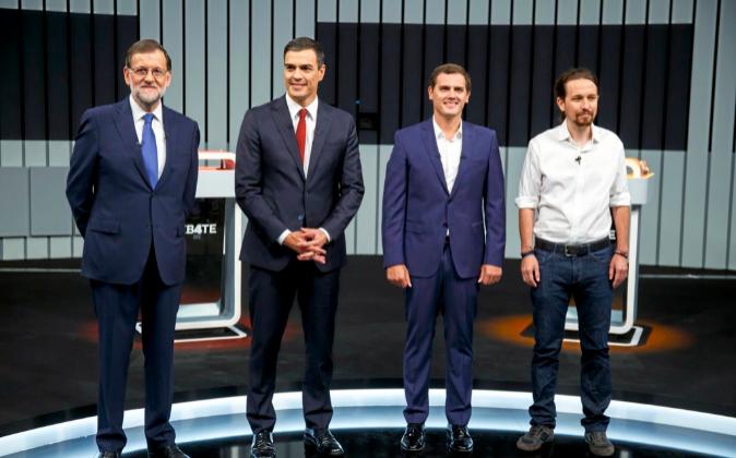 Mariano Rajoy, Pedro Sánchez, Albert Rivera y Pablo Iglesias, en una...