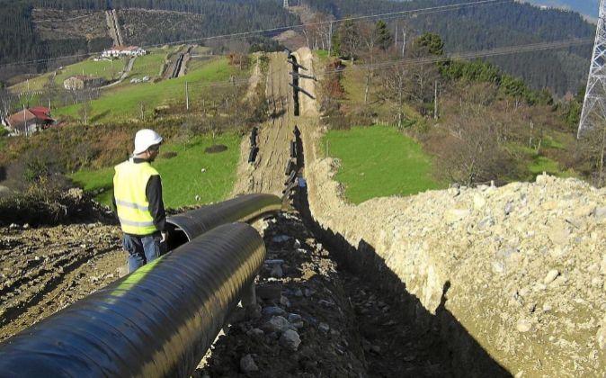 Obras de gasoducto de Naturgas.