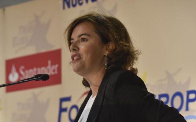 La vicepresidenta del Gobierno en funciones, Soraya Sáenz de...