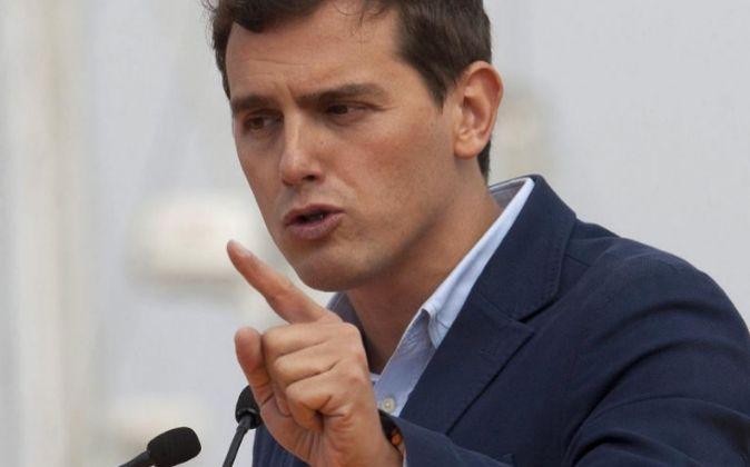 El presidente de Ciudadanos, Albert Rivera, en Vigo.