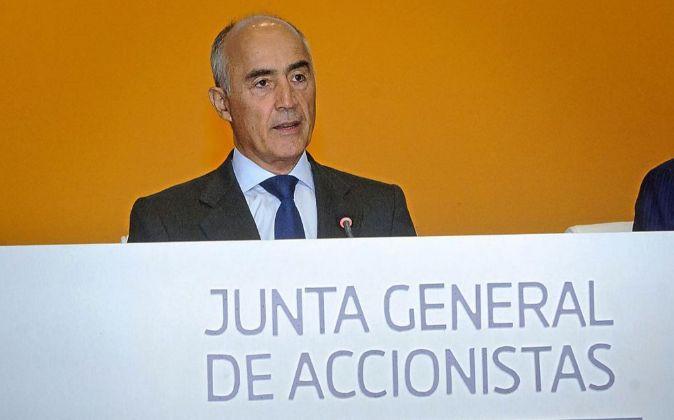 El presidente de Ferrovial, Rafael del Pino, durante la última junta...