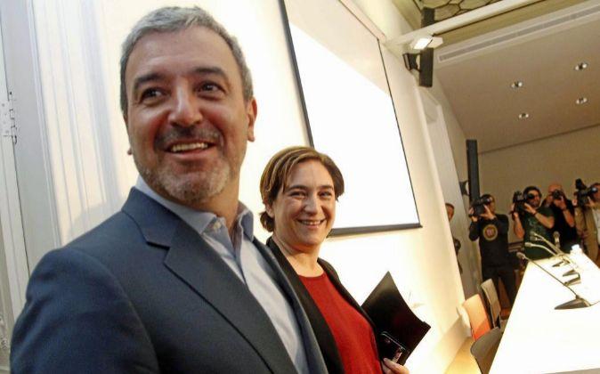 La alcaldesa de Barcelona Ada Colau y Jaume Collboni.