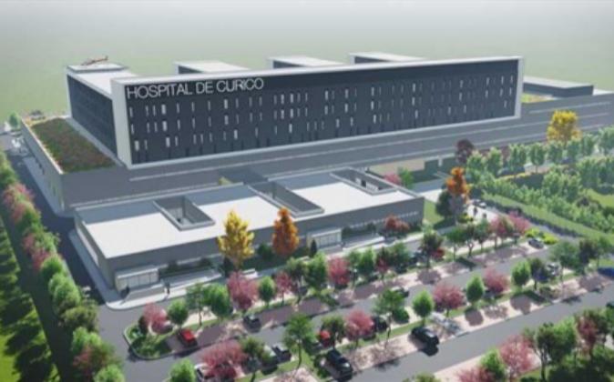 Infografía del futuro Hospital de Curicó, en Chile.