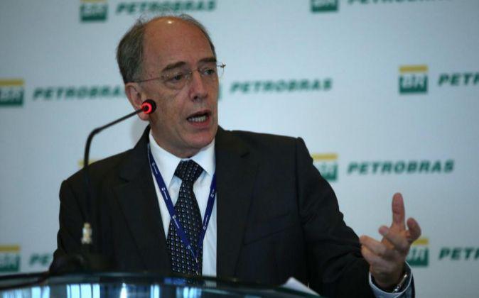 Pedro Parente, director de Petrobras, durante la rueda de prensa de...