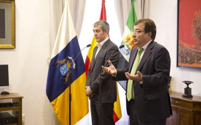 Rueda de prensa conjunta del presidente de Extremadura, Guillermo...