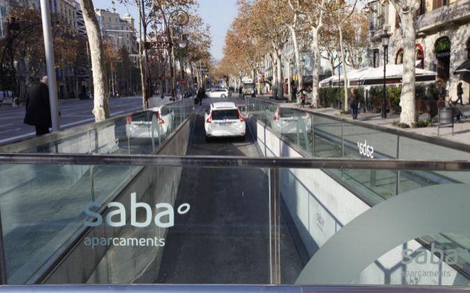 Parking Saba en Paseo de Gracia, en Barcelona.