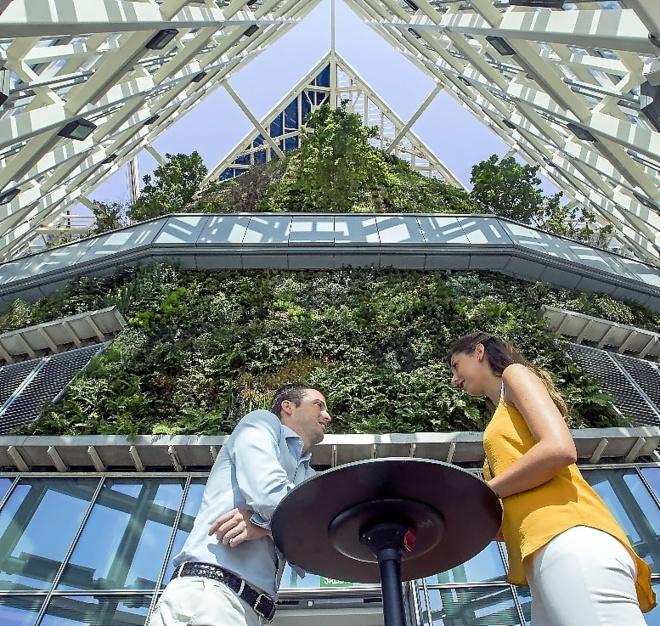 Un jardín vertical de 30 metros corona la sede de KPMG en la Torre de...