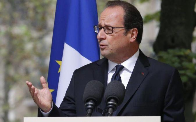 El presidente galo, François Hollande, durante un discruso esta...