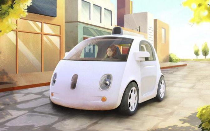 Animación que muestra un prototipo del vehículo autónomo de Google.