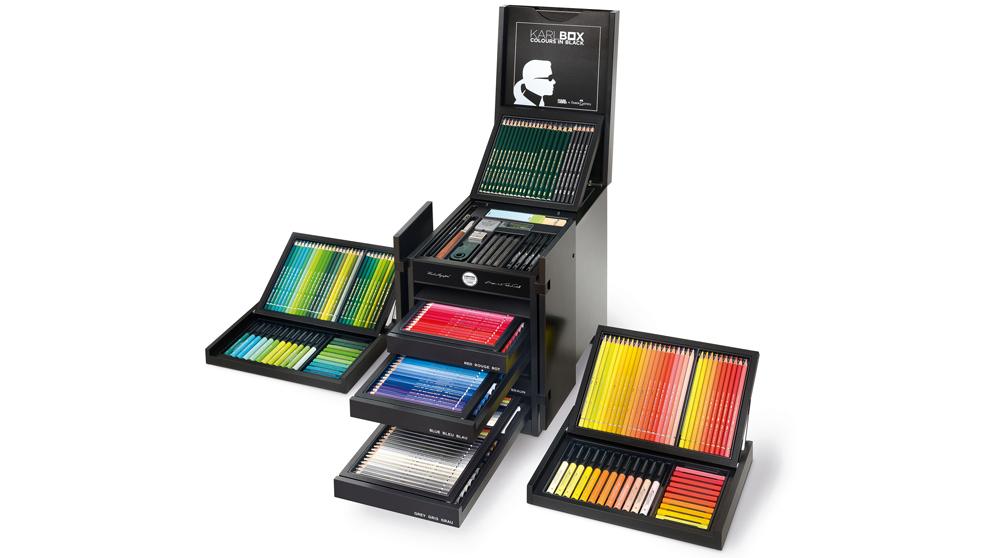 Cada baúl Karlbox contiene 350 útiles para dibujo y pintura...