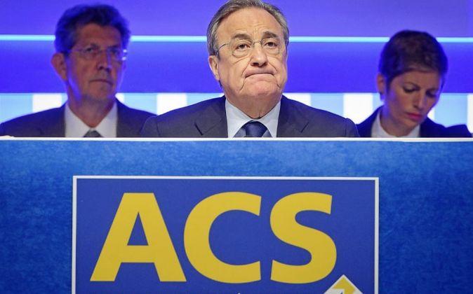 Florentino Pérez, presidente de ACS, en la última junta de...