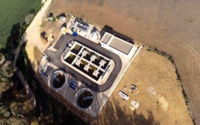 Foto aérea de la EDAR de Bornos  (Cádiz) finalizada por  Dinotec en...