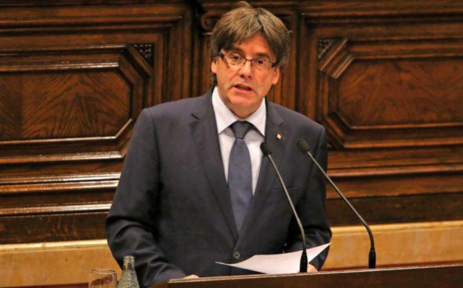 Carles Puigdemont, en la primera sesión de la cuestión de confianza...