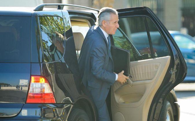 El expresidente de Caja Madrid Miguel Blesa, hoy, a su llegada a la...