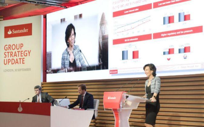 Ana Patricia Botín, presidenta de Santander, en la presentación...