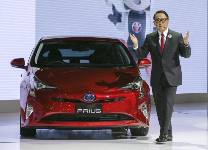 El presidente de Toyota Motor Corp., Akio Toyoda, presenta el nuevo...