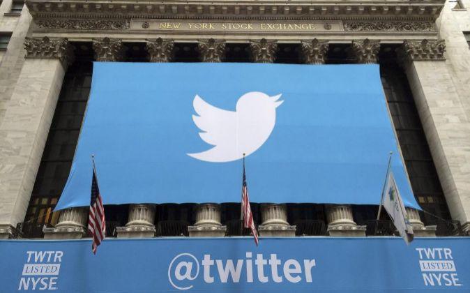 Imagen de la Bolsa de Nueva York en el estreno de Twitter