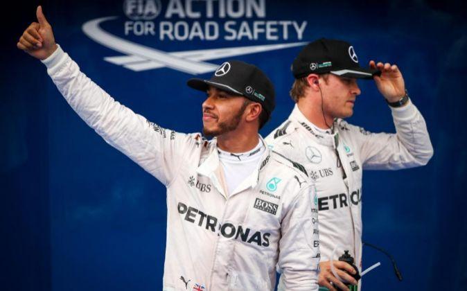 Lewis Hamilton y Nico Rosberg.