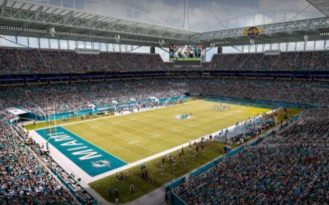 El Hard Rock Stadium de los Miami Dolphins, uno de los equipos que se...