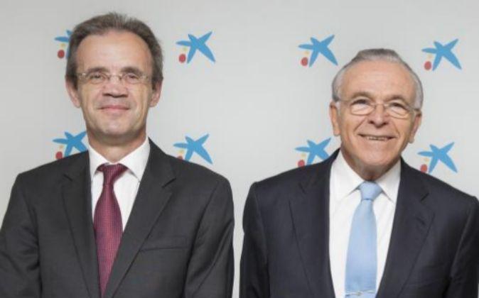 Jordi Gual (i) e  Isidre Fainé.
