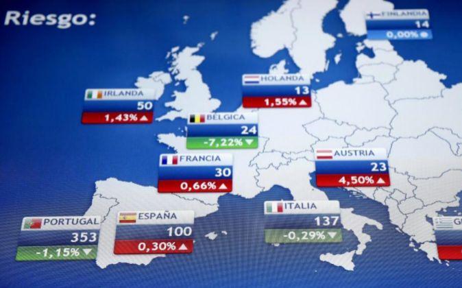 Imagen del día de hoy del monitor de la Bolsa de Madrid con la...