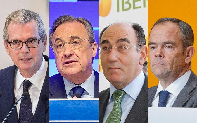De izquierda a derecha, Pablo Isla, presidente de Inditex; Florentino...