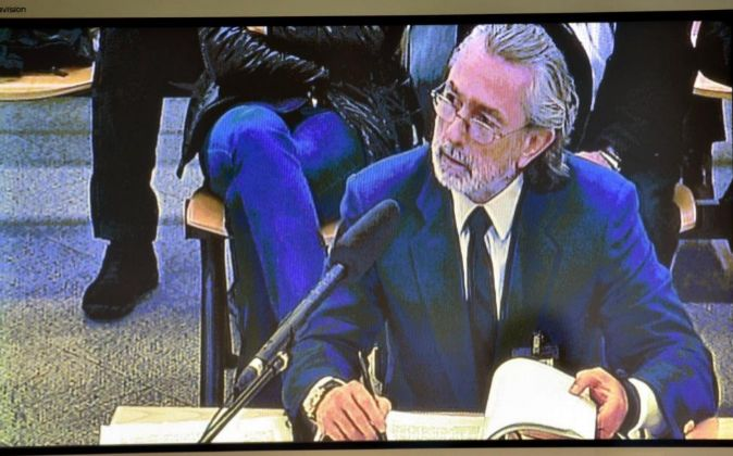 Imagen del monitor de la sala de prensa de la Audiencia Nacional en...