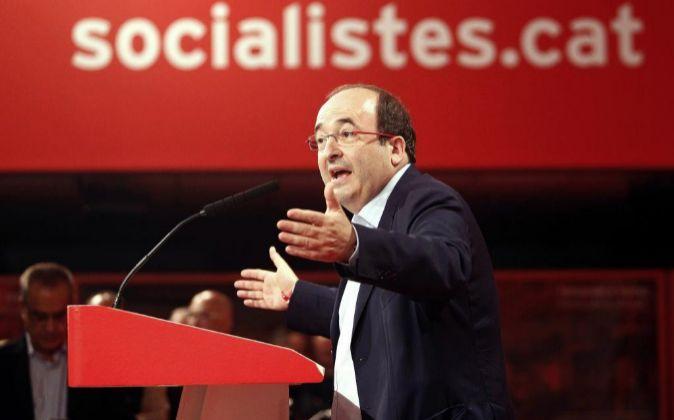 Miquel Iceta tras ser reelegido líder del PSC en las elecciones...