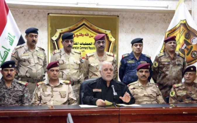 Fotografía facilitada muestra al primer ministro iraquí, Haider...