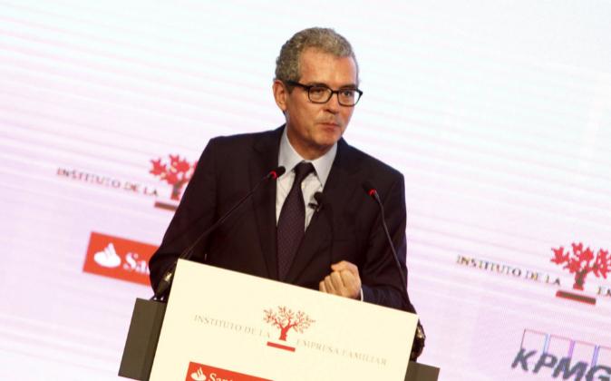 El presidente de Inditex, Pablo Isla, durante su intervención en el...