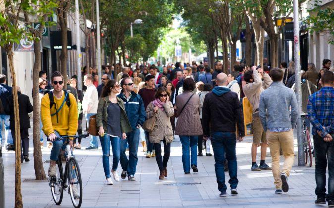 Calle Fuencarral. Es uno de los principales ejes comerciales de...
