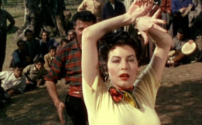 Ava Gadner en el 'set' de 'La Condesa descalza'...