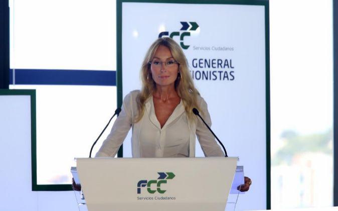 Esther Alcocer Koplowitz, presidenta de FCC, durante la última junta...