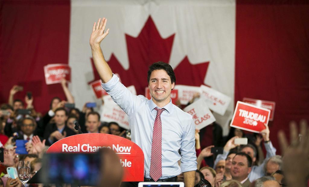 El Primer Ministro electo de Canadá, Justin Trudeau, habla el martes...