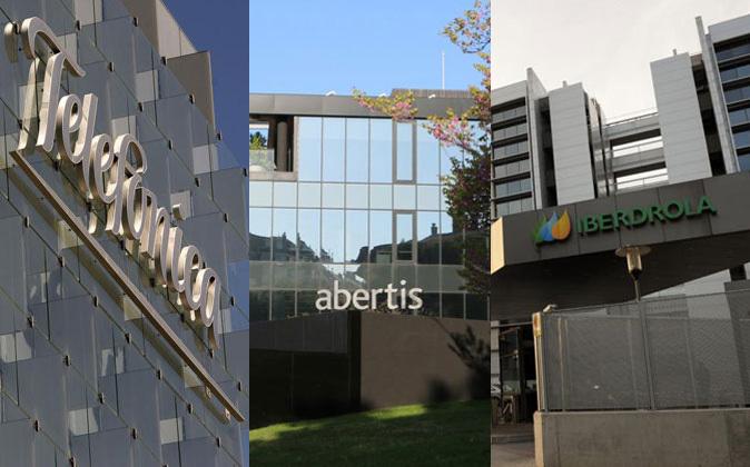 sedes de Telefónica, Abertis e Iberdrola.