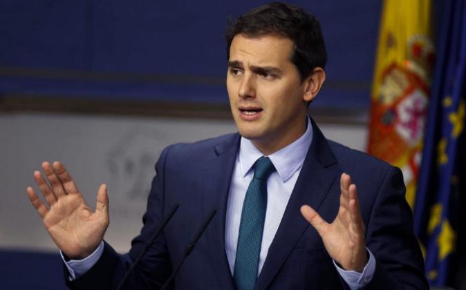 El líder de Ciudadanos, Albert Rivera, durante la rueda de prensa...