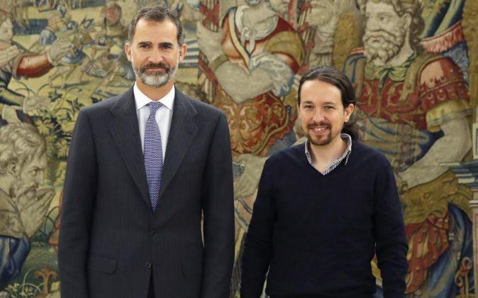El Rey ha recibido hoy al líder de Podemos, Pablo Iglesias en la...