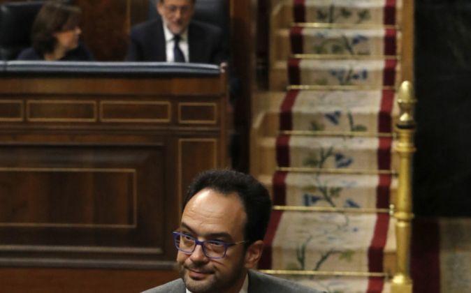 El portavoz del PSOE en el Congreso, Antonio Hernando, durante su...