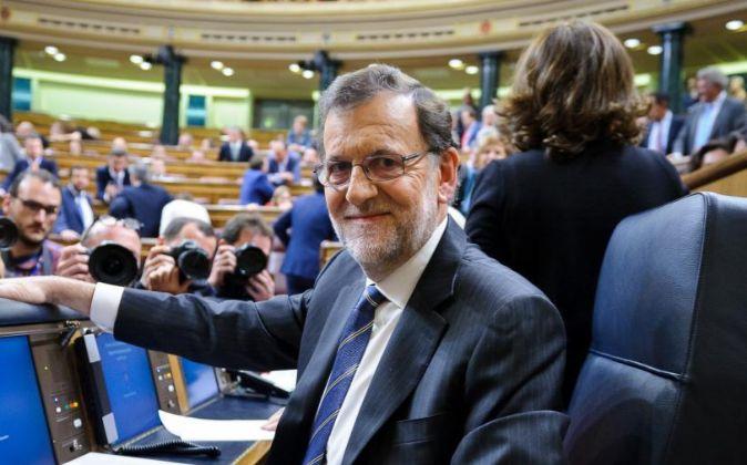 Mariano Rajoy, antes de iniciar la sesión de Investidura