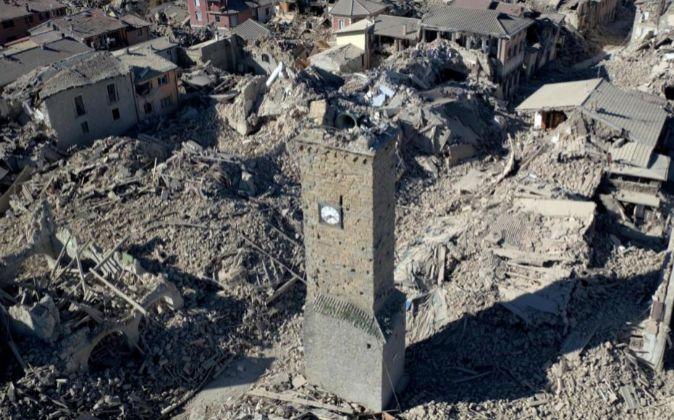 Vista aérea de Amatrice, completamente destruida.