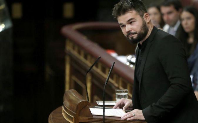 El portavoz adjunto de ERC en el Congreso, Gabriel Rufián durante su...