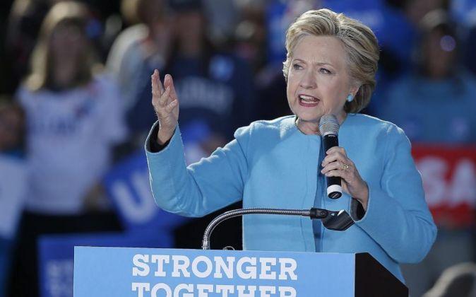 La candidata presidencial estadounidense por el Partido Demócrata,...
