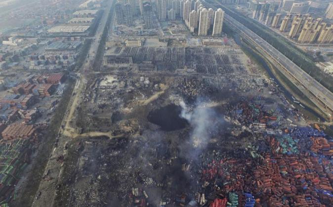 Vista aérea tomada el 15 de agosto de 2015 que muestra el destrozo en...