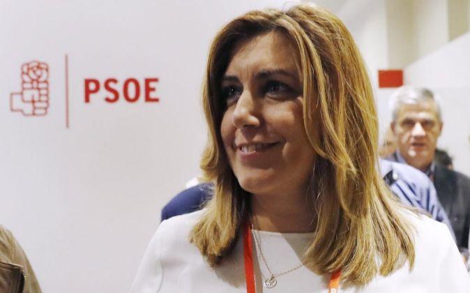 La presidenta de la Junta de Andalucía, Susana Díaz, tras la...