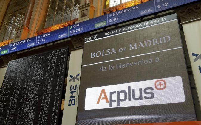 Vista del panel de cotizaciones de la Bolsa de Madrid.